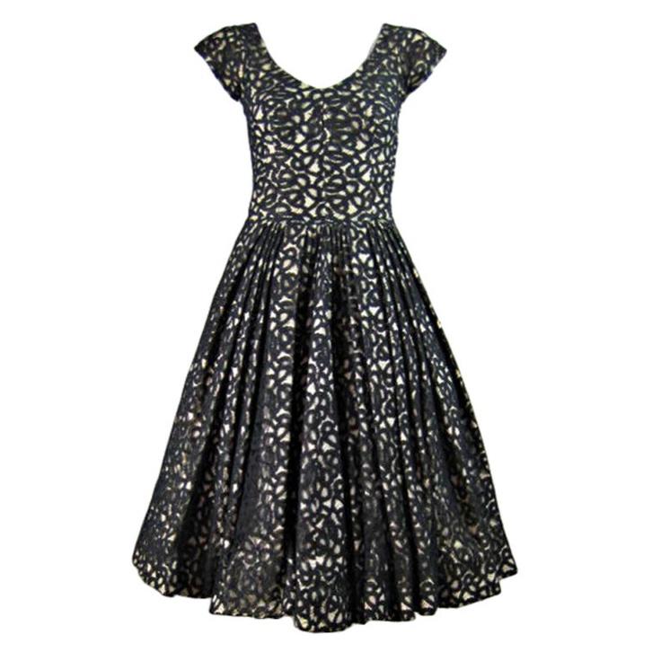 on bklyncontessa :: via regeneration :: 1950s galanos lace cocktail dress: Lace Cocktails Dresses, Black Dresses, 1950 S Galano, 1950S Galano, Galano Black, Black Laces, Galano Lace, Vintage Evening Dresses, Lace Cocktail Dresses