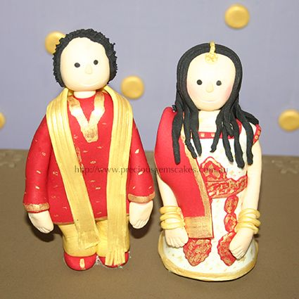 Indian Couple cake topper/cake figurine. Outfit matched what the couple wore on their wedding day - by PreciousGems Cakes Cupcakes Cookies