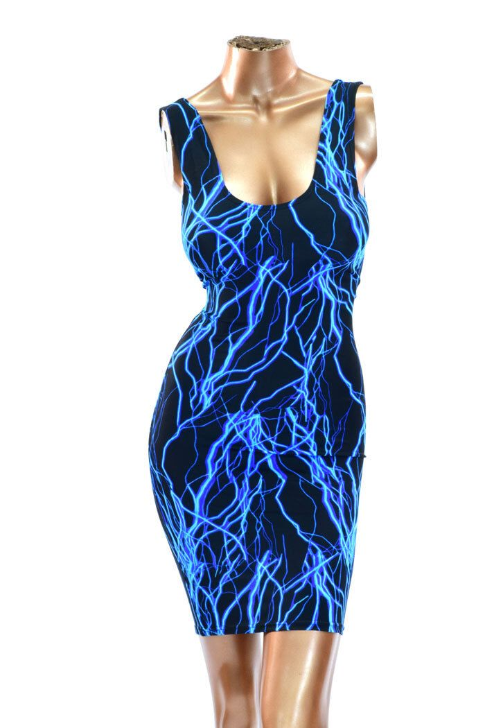 Neon UV Glow Blue Lightning Print Lycra Spandex Rave Clubwear Tank Dress -1500103 by CoquetryClothing on Etsy https://www.etsy.com/listing/214638711/neon-uv-glow-blue-lightning-print-lycra
