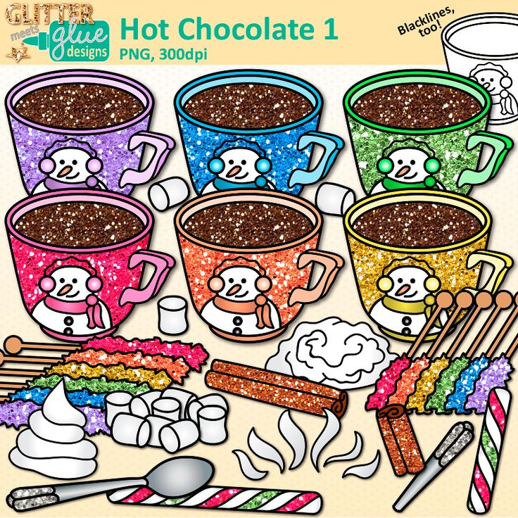 DownloadHot Chocolate clipartfor commercial & personal use. Snowman mug, rock candy, marshmallows, cinnamon. High-Quality, 300dpi, Transparent Backgrounds.