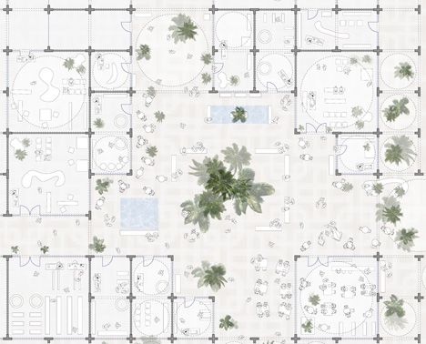 Floor plan of Sou Fujimoto designs masterplan made from modular arches
