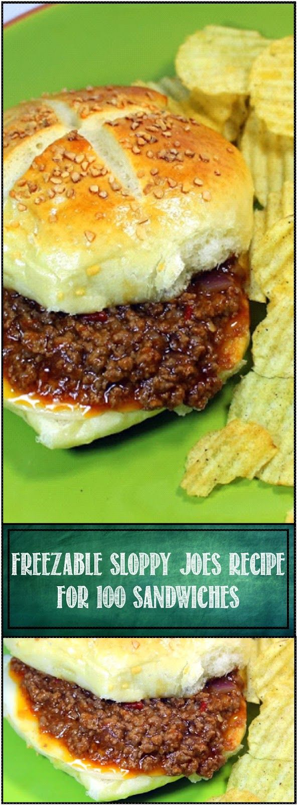Freezable Sloppy Joe's Recipe For 100. This recipe comes in VERY handy when needed to feed a large group. Freezes easily and can stay warm for hours in the crockpot. Perfect for a big family event, Church potluck, Pre-Thanksgiving or Christmas.  Freezable Sloppy Joe's - YUM