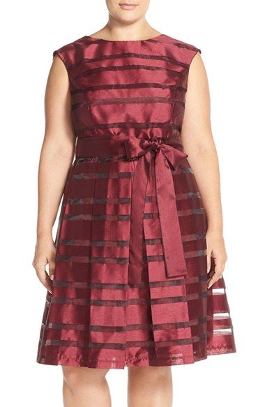 Chetta B Stripe Shantung Fit & Flare Dress (Plus Size) available at #Nordstrom