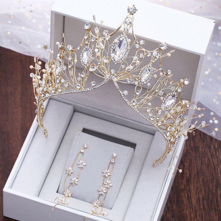 Details about Gold Luxury Bridal Wedding Crystal Queen Praty Crown Headbands Tiara Headpiece