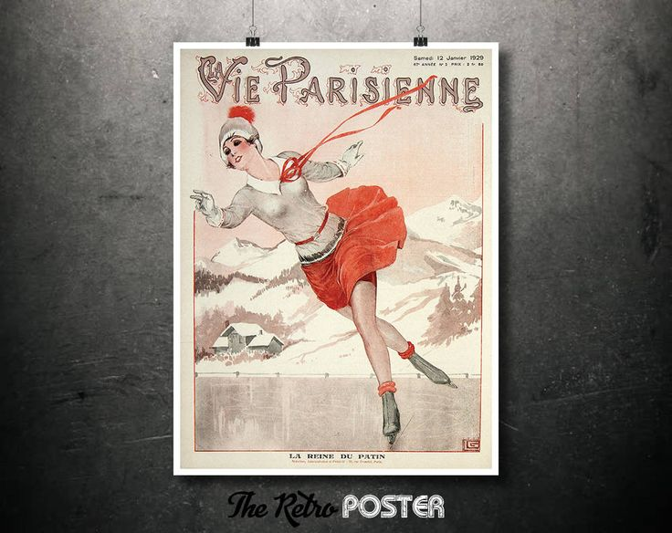 Fashion - La Vie Parisienne (The Parisian Life) - January 1929 - Ice Skating, Fashion Poster Vintage, Fashion Illustration, Women's Fashion by TheRetroPoster on Etsy