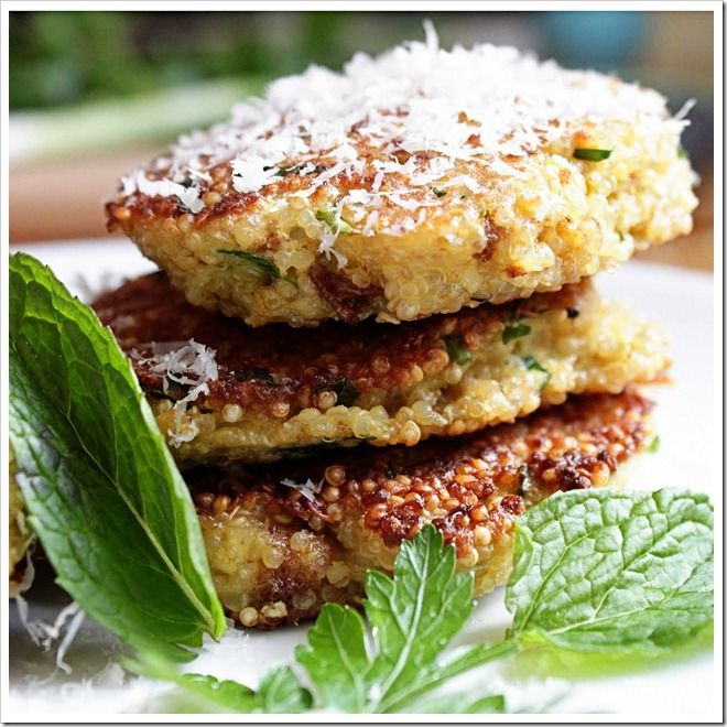 Spring Herb Quinoa Patties.. Going to try these next week too.