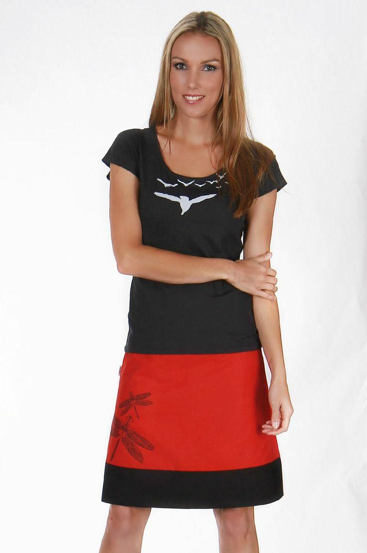 Dragonfly Print on our Web Reversible Skirt. www.tava.net.nz