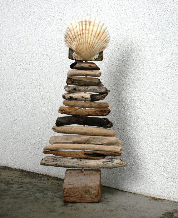 Driftwood Christmas Tree with Seashell by PeaceLoveDriftwood, $52.00