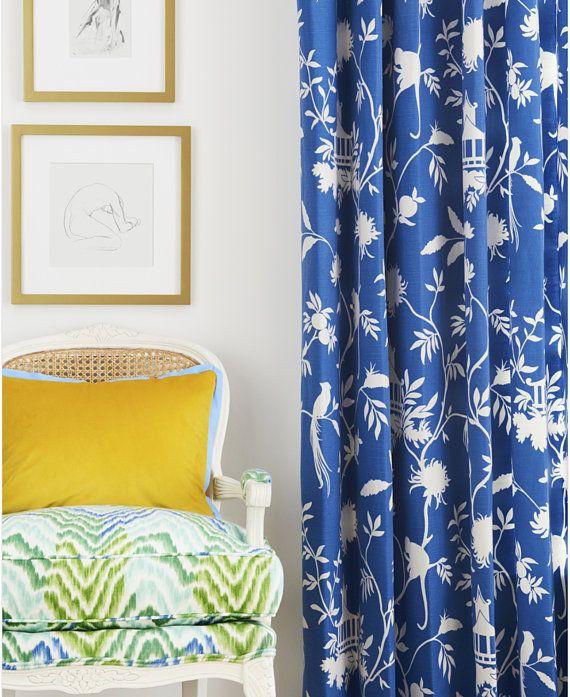 Blue Green Curtains Oriental curtains pagoda asian curtains drapes curtains custom chinoiserie curtain panel extra long blue curtains