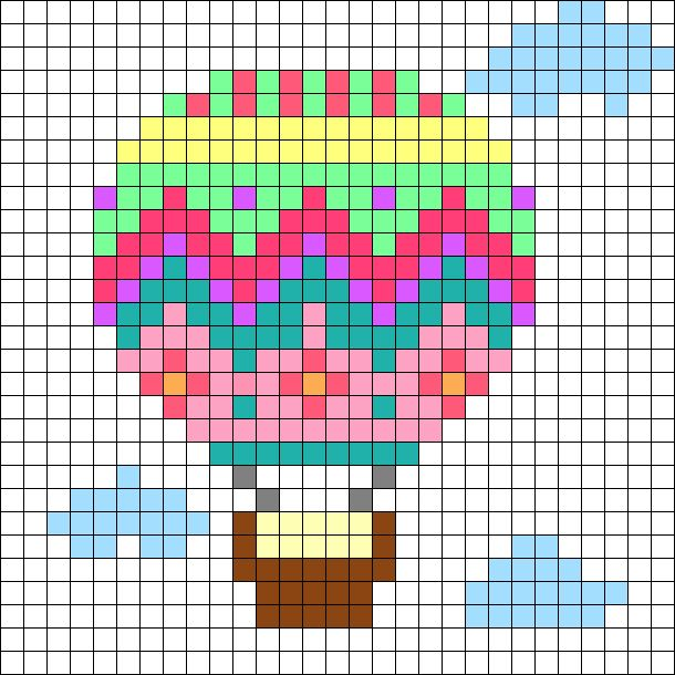 Hot Air Balloon Perler Bead Pattern