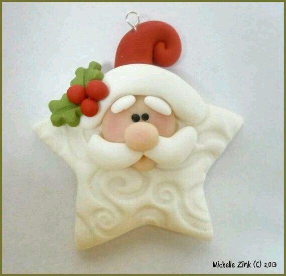 Clay Santa Star Ornament