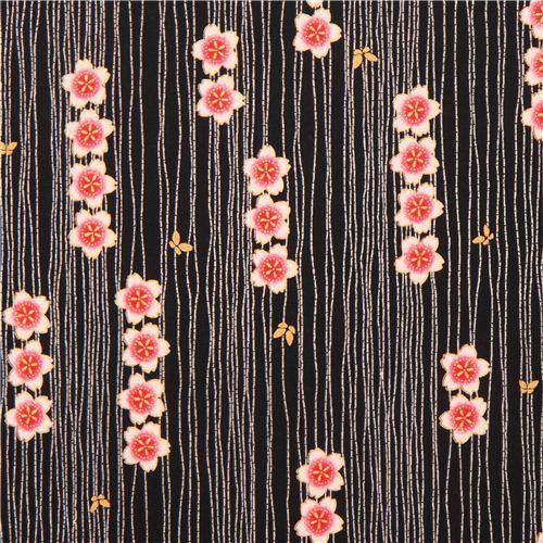 black Satsuki 3 flower chain stripe Asia fabric Robert Kaufman