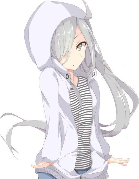 Anime Girl With Short Silver Hair And Blue Eyes