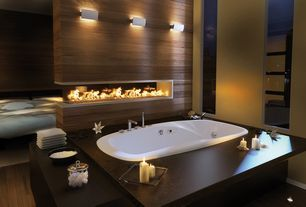 Modern Master Bathroom with Gas fireplace / 3-sided / closed hearth / contemporary, Oxygen Wall Sconce, Chrome, Wall sconce