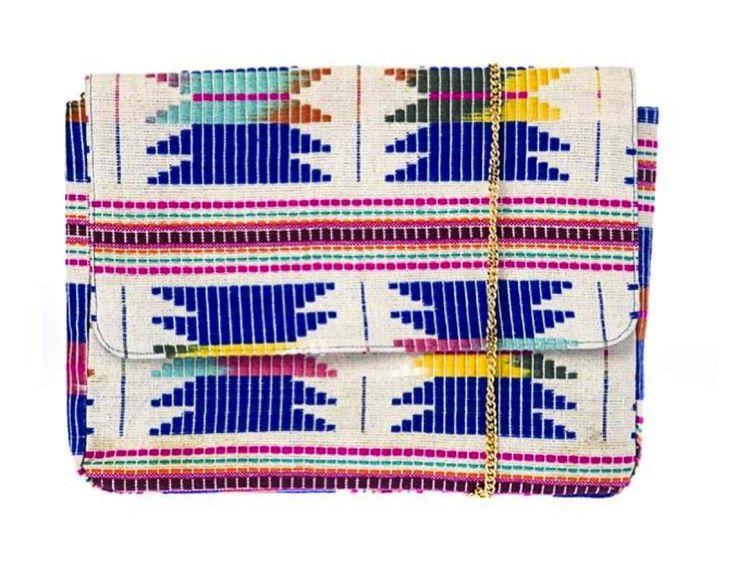 Compania Fantastica τσάντα φάκελος υφασμάτινη με ινδιάνικο σχέδιο και μακρυά αλυσίδα