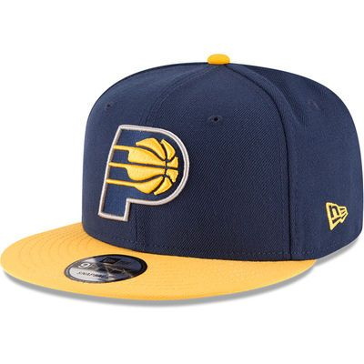 Men's New Era Navy/Gold Indiana Pacers 2-Tone Original Fit 9FIFTY Adjustable Snapback Hat