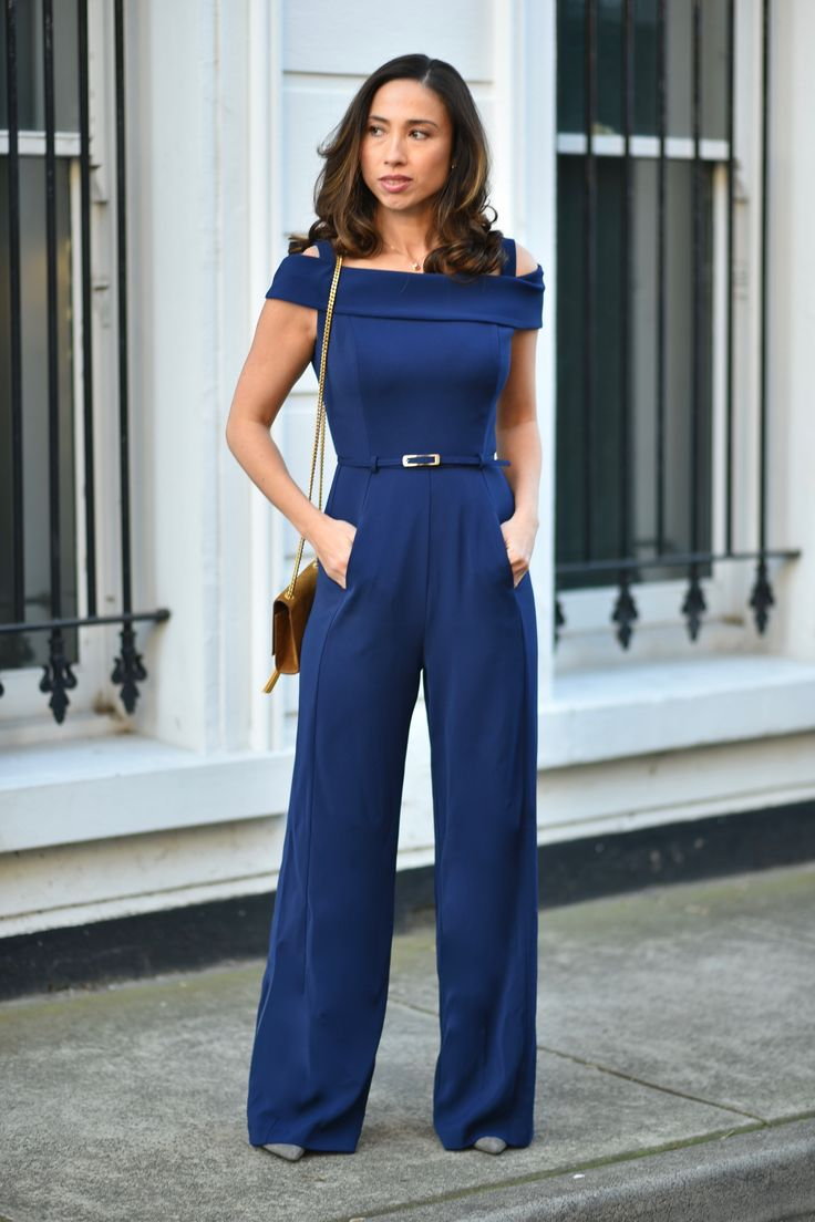 Navy Cold Shoulder Jumpsuit via @CarmelJenkin from Draw Dress Dream  #acstyle