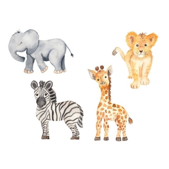 Cute Cartoon African Animals Elephant Zebra Giraffe Lion Animal Clipart Elephant Abstract Png And Vector With Transparent Background For Free Download African Animals Cartoon Drawings Of Animals Cute Animal Drawings