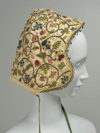 Woman's Coif, England late16C-17C. silk and metallic embroidery on linen