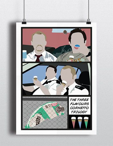 Three Flavours Cornetto Trilogy movie poster print by Meet Me In Shermer  www.etsy.com/meetmeinshermer