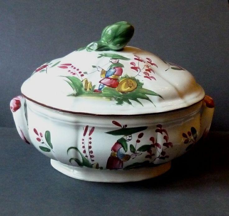 Faience ancienne superbe soupi re des islettes 18 m for Vasque ancienne en porcelaine