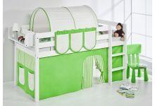 """Cama semi alta """"JELLE BLANCO"""" con cortinas verde/beige"""