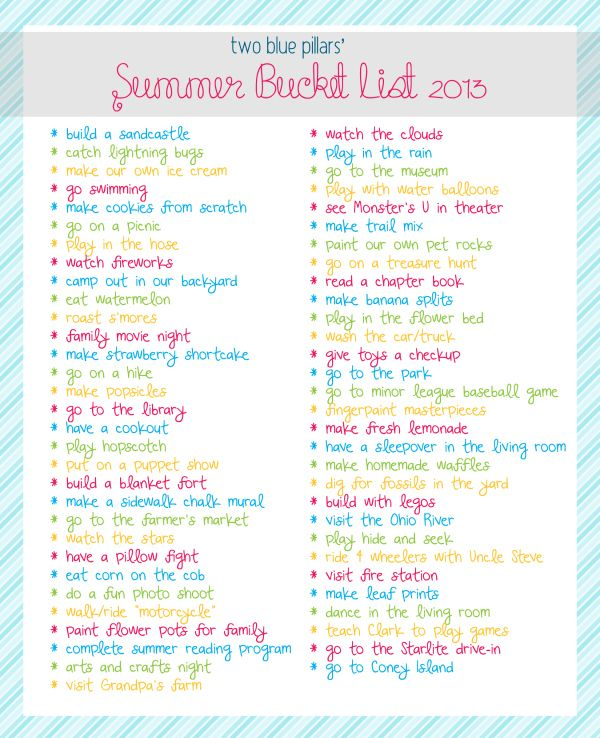 Crazy Teenage Bucket List Ideas | summer bucket list 2013 copy