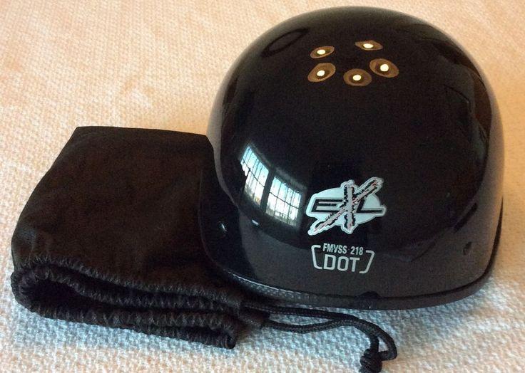 EXL Large Gloss Black Motorcycle Half Helmet FMVSS-218 DOT W/Bag