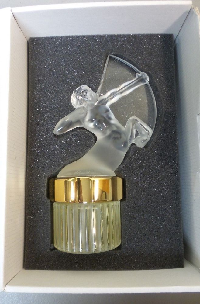 "LALIQUE FROSTED CRYSTAL ""SAGITTAIRE"" FACTICE PERFUME BOTTLE FOR MEN'S PERFUME"