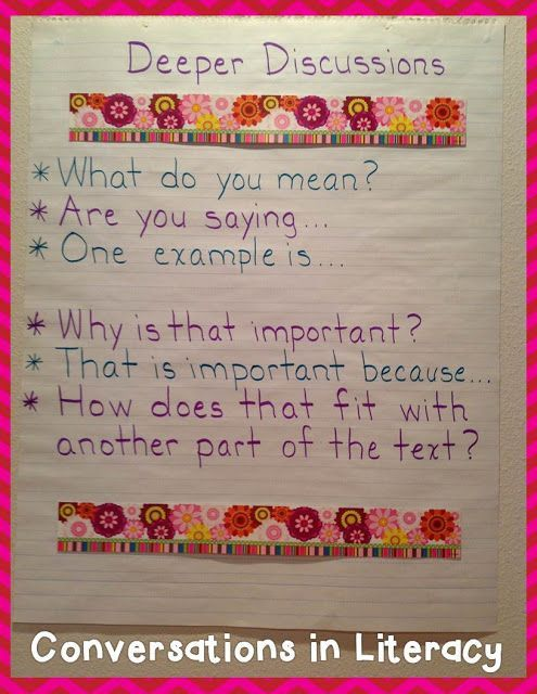 Deeper Discussions Anchor Chart:  creating accountable talk with students for the common core