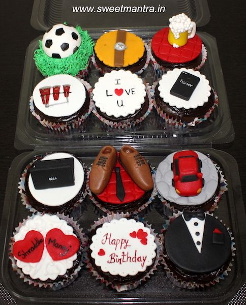 Customised designer cupcakes with husband's favourite things for husband's birthday at Pune