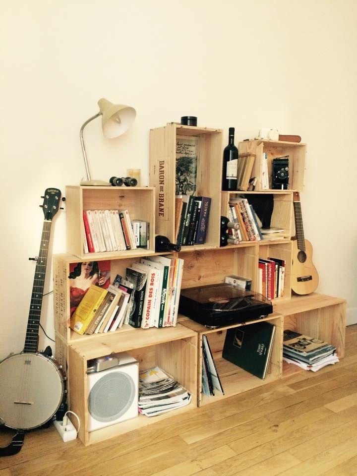 My DIY Shelf made of wooden Wine boxes Etagère fait maison en caisses de vin