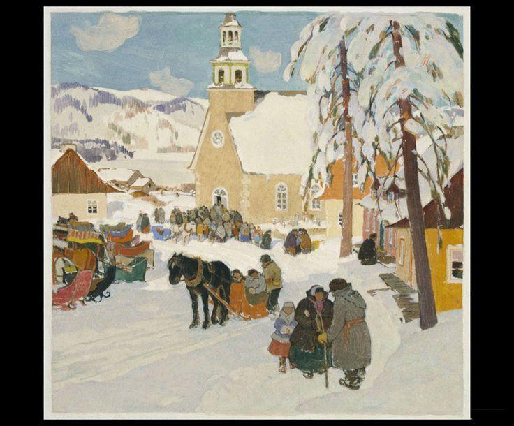 Clarence Gagnon (1881 - 1942), Leaving Church, 1928 - 1933