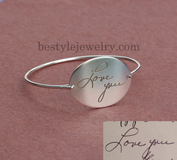 Hey, I found this really awesome Etsy listing at https://www.etsy.com/listing/207484563/handwriting-bangle-engraved-actual