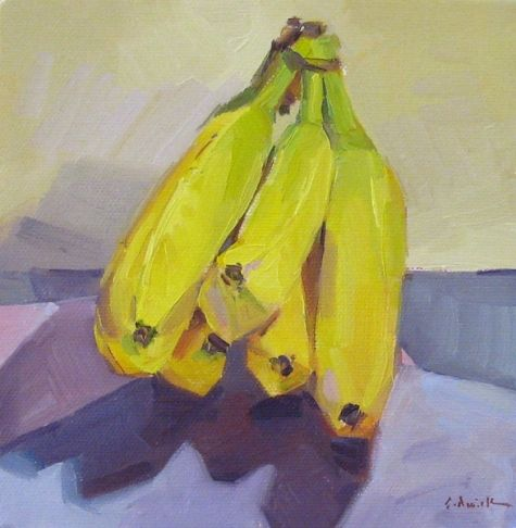 Simply Bananas fruit food kitchen decor art still life oil painting, painting by artist Sarah Sedwick