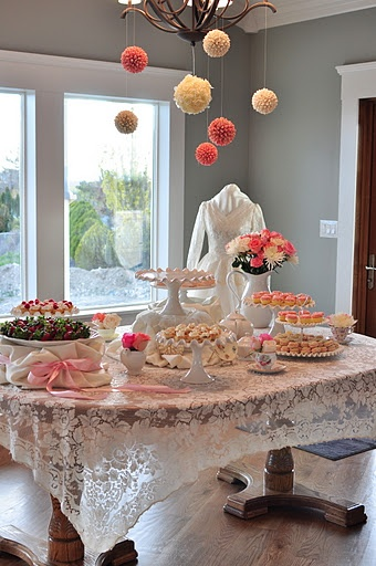 display old wedding dress and wedding photos and get old vintage serving towers - Gorgeous ideas for a vintage bridal shower!