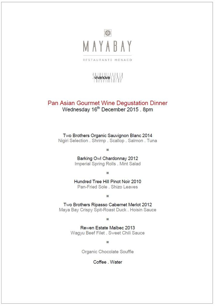 Seven Course Omakase Gourmet Wine Dinner . Five Premium New World ...