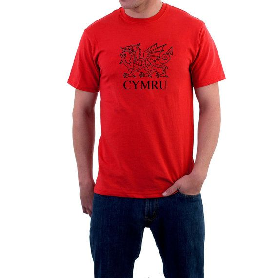 Wales T-shirt. CYMRU Fan Dragon Tee  Rugby Supporter by SillyTees