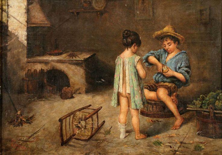 Niños en la cocina - August von Pettenkofen (1822-1889)