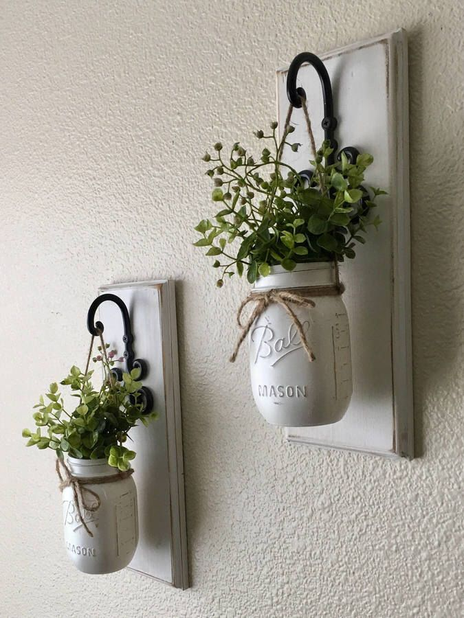 Etsy Set of Two Mason Jar Sconces with Greeney, Farmhouse Decor, Rustic Decor, Hanging Mason Jar Sconce,