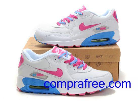 Comprar baratos mujer Nike Air Max 90 Zapatillas (color:blanco,rosado,azul) en linea en Espana.