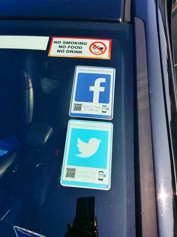The fleet at West Devon taxis are making the most of their #socialmedia with our #socialmedia window tags #vantag #logotag