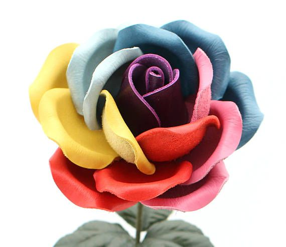 Rainbow Leather Rose 3rd Leather Anniversary Gift Long Stem Leather Flower Third Wedding  Anniversary Gift Valentine's Day Mother's Day
