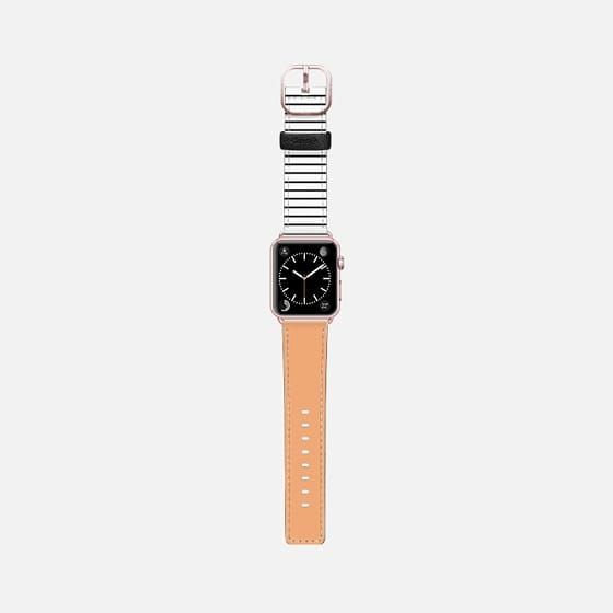 Casetify Apple Watch Band (42mm) Saffiano Leather Watch Band - Orange and stripes by Allyson Johnson