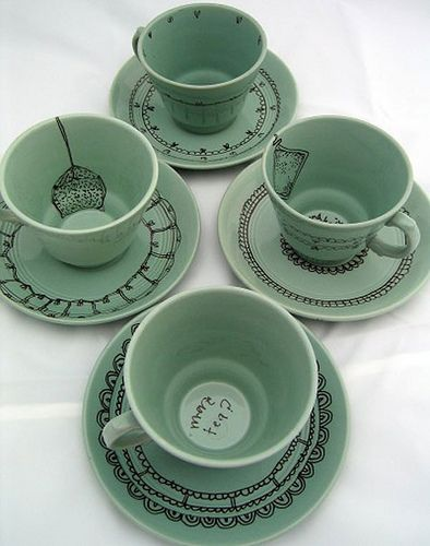 decorate with pens! I have done this before on thrift store plates and bowls - it's easy - peobo pens and then you bake.