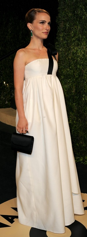 Who made  Natalie Portman's jewelry, white one shoulder gown, and black clutch that she wore in West Hollywood on February 24, 2013?