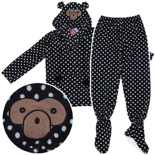 Monkey Two-Piece Hooded Footed Pajamas for Women $29.99