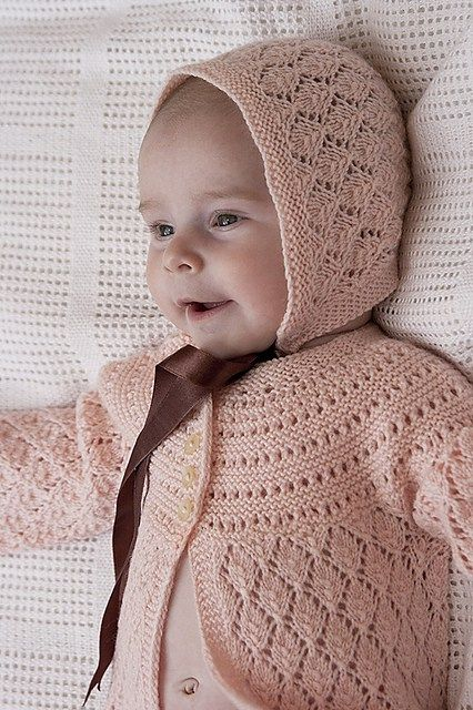 Free knitting pattern for lace baby cardigan and bonnet Lucille and more baby cardigan knitting patterns