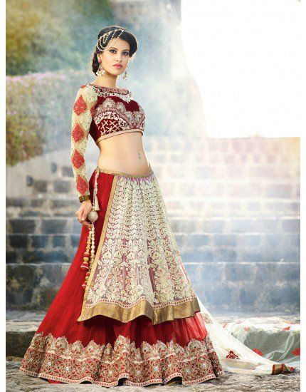 Red and Cream Net Lehenga Choli with Embroidery Work