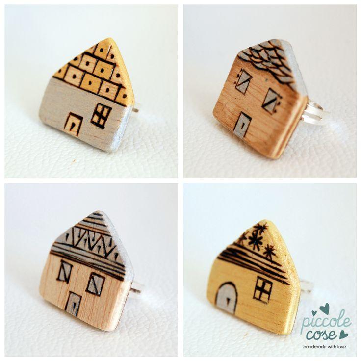 Piccolecose: Home sweet home. Anelli e casette di legno